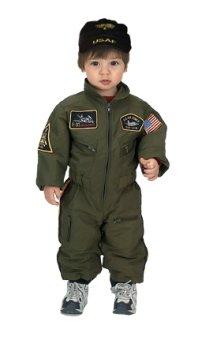 : Jr Armed Forces Pilot Suit w/ Helmet Infant Costume Age 18mo. (BAFP-18)