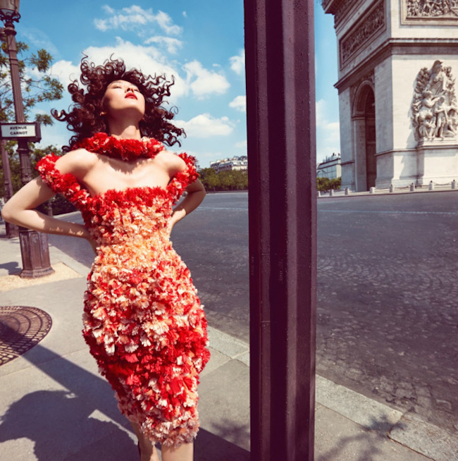 VOGUE CHINA Liu Wen in Scarlet Rougue by Camilla Akrans. Franck Benhamou, October 2014, www.imageamplified.com, Image Amplified
