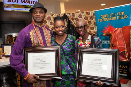 Day 1 sm - VIP Meet & Greet - Evelyn O with Honorees - Desmond Alufohai & Traci Young-Byron