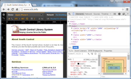 Screen shot of a website with Chrome DevTools & Device Emulation