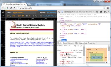Screen shot of a website with Chrome DevTools & Device Emulation