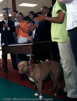 Signing of the 2008 omnibus animal fighting bill