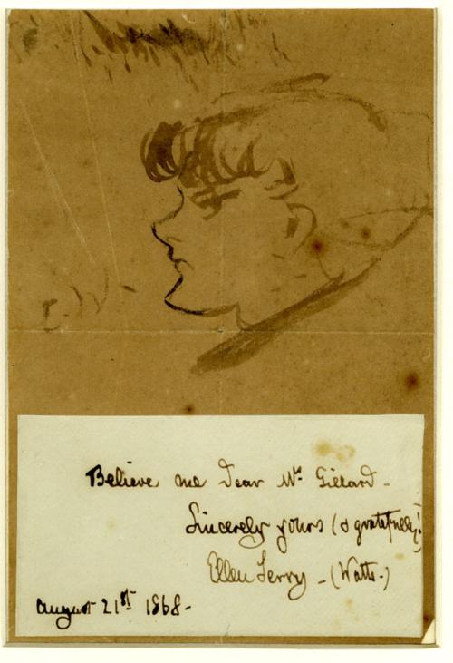 Ellen Terry self portrait pen and ink sketch with inscription and autograph