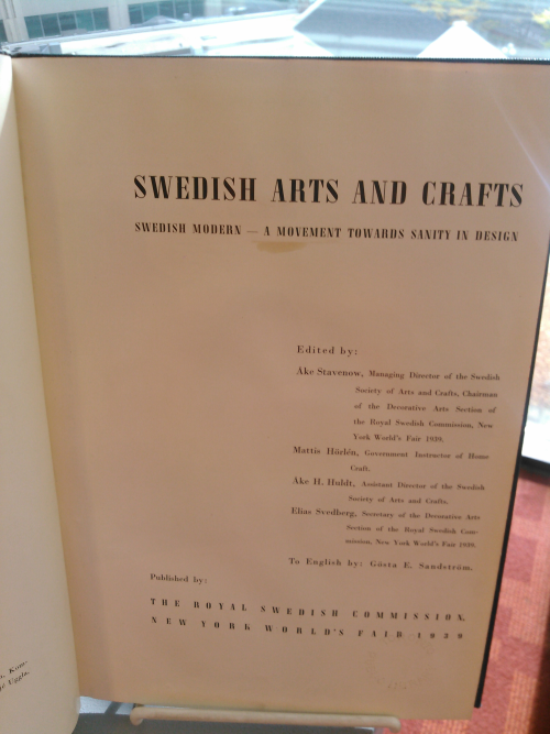 Swedish Arts and Crafts 1939 New York World's Fair exhibit catalogue