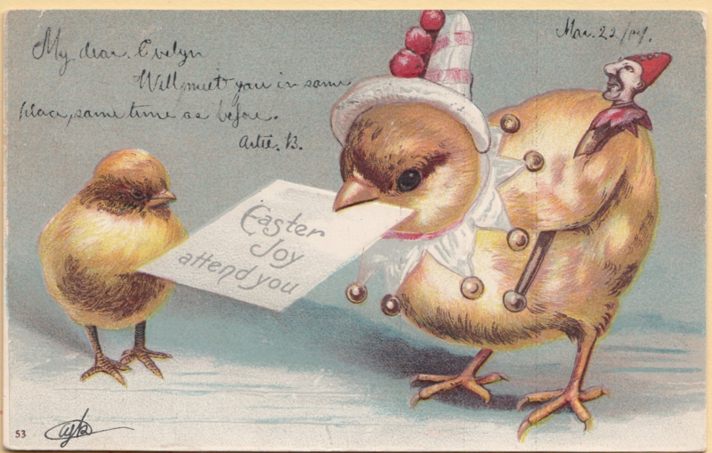 Easter Joy attend you is an undivided back 1907 postcard.