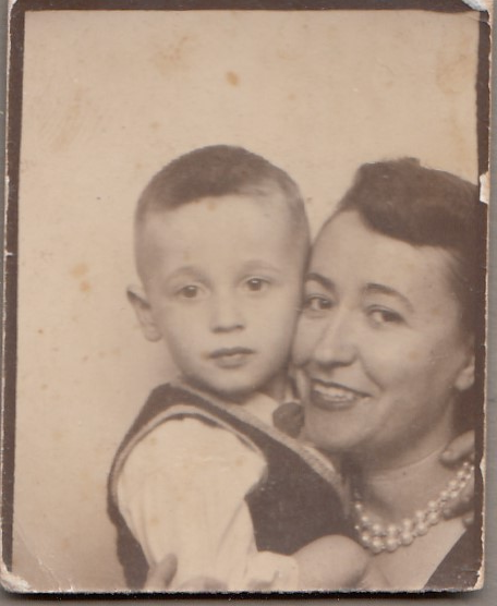 Bill's Mom and brother vintage photo booth circa 1950s