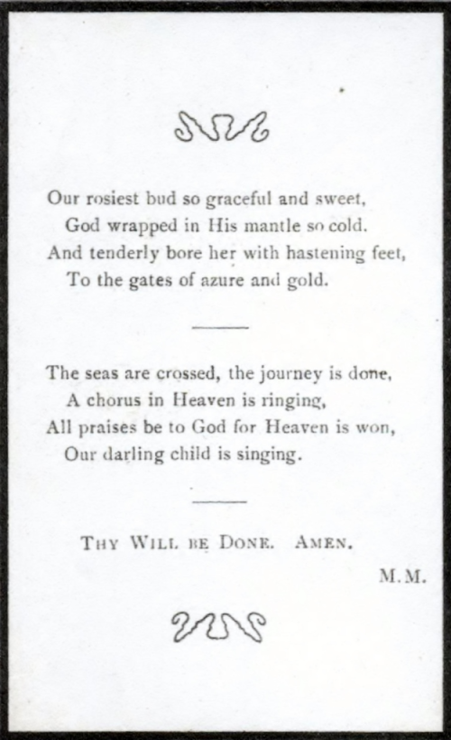 Poem on Eugenie Makepeace's funeral card