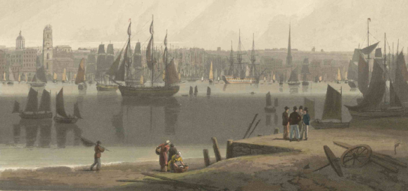 The Port of Liverpool taken from the opposite side of the River Mersey. Drawn and engraved by William Daniell, 1813