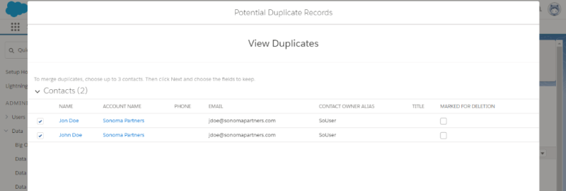 Salesforce Duplicate View