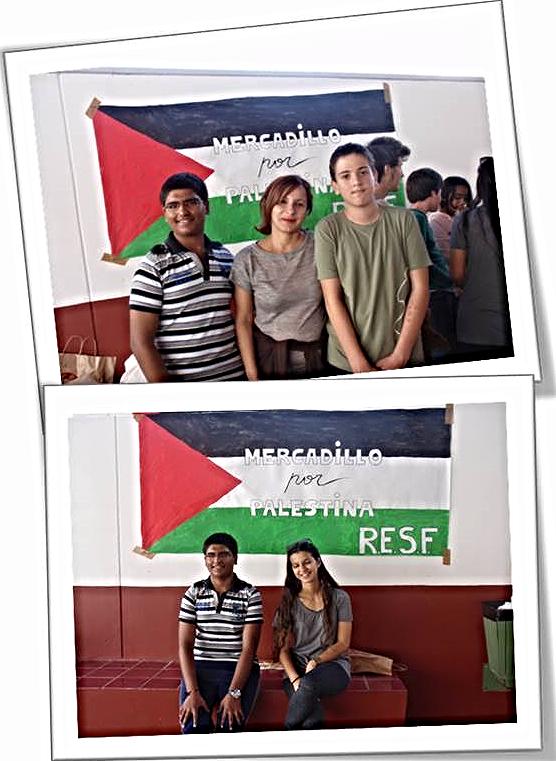 Ángeles son sus estudiantes Riu, Santi y Mariam en el Mercadillo por Palestina