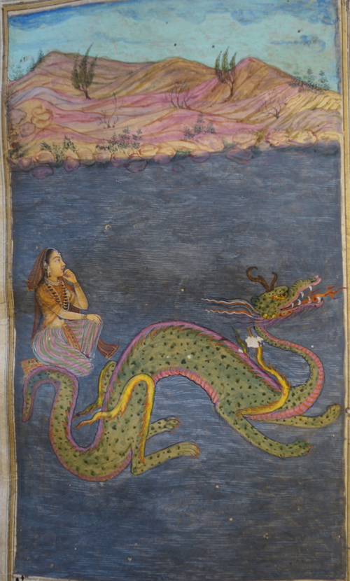 The merchant's daughter, previously marooned on a deserted island in a vast lake, sits on the tail of a water-dragon to be conveyed to shore.  Mughal, 1700-20.  BL IO Islamic 1408, f. 112v