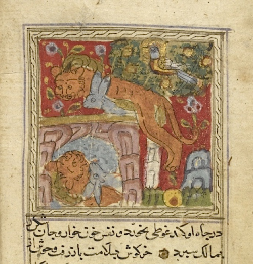 The well known story of the hare who tricks the lion into drowning by attacking his own reflection in the well. From Naṣr Allāh Munshī's Kalīlah va Dimnah dated 707/1307-8 (BL Or.13506, f 52v)