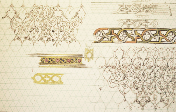 Sketchbook studies of design structure in opening pages of Or.11846. ⓒ Anita Chowdry