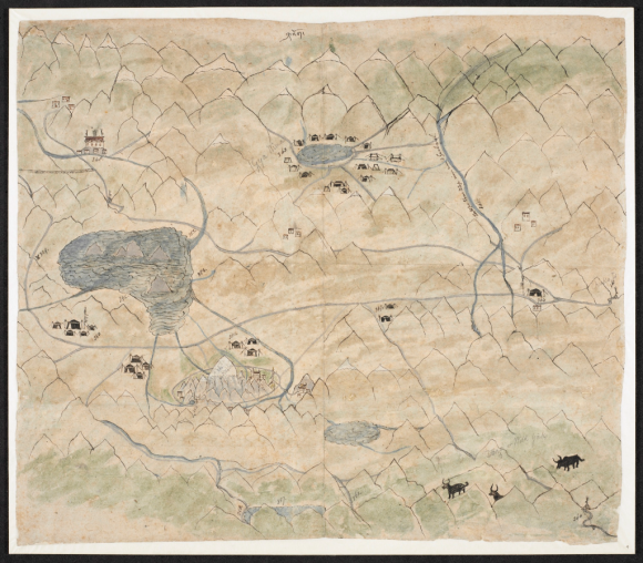 This map shows the area around Mt. Kailash in Western Tibet. Several lakes are depicted as well as market places and trading centres. The mountains with the white peaks on the upper part of the map represent the Himalaya - the map is oriented to the south (BL Add.Or.3015, f. 4)