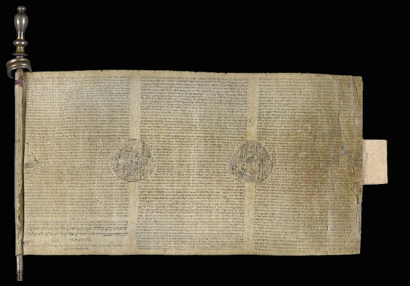 Minute Esther Scroll (50 x 94 mm) written on a single strip of vellum wound on a silver-plated roller. Europe, 18th century (BL Or.4670)