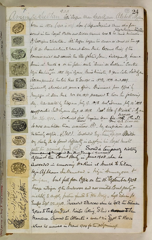 Entry for  Mirza ʻAli Asghar Khan Amin us-Sultan in 'Biographical Notes' (British Library, IOR/R/15/1/746, f. 55r)