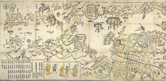 An illustrated map of Nagasaki'