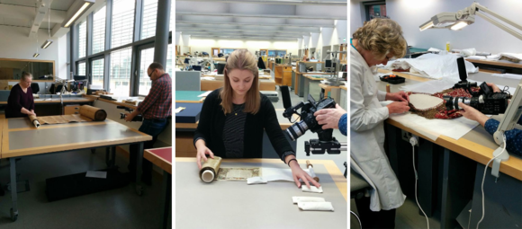 Conservators at work at the British Library Conservation Centre (from left to right): Ann Tomalak unrolling our longest scroll (16th-century Pentateuch, British Library Or 1459), Jenny Snowdon with an Esther scroll (British Library Or 13028), and Liz Rose stitching a Torah scroll mantle (British Library Egerton 610)