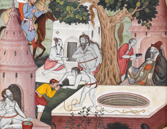 Ascetics at Gurkhattri in 1519. Detail from painting by Kesu Khurd from the Baburnamah, 1590-92 (British Library Or.3714, f.320v)