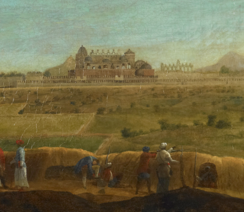 Detail from an oil painting by Francis Swain Ward showing the west side of the palace from outside the city walls, 1764 (British Library F31)