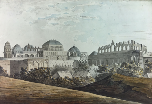 Drawing by Elisha Trapaud of missing structures in the palace, 1780s. (British Library WD4561)