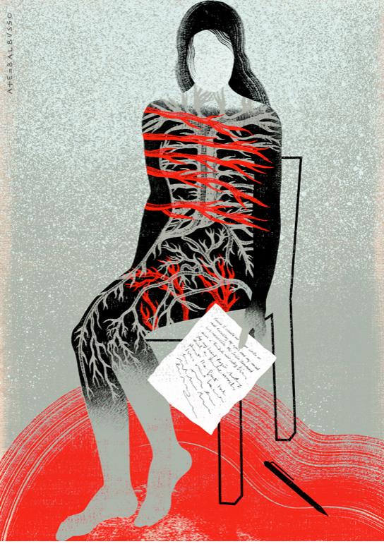 """Ilustración para The New Yorker Magazine, artículo """"Viviendo con una enfermedad autoinmune"""", Balbusso 2013."""