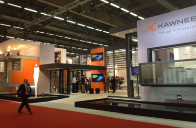 The main frontispiece of Kawneer's impressive Batimat stand.