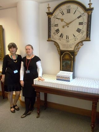 Photograph of British Library staff with the Holodomor microfilm collection