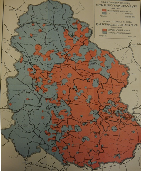 Map showing the results by region of the 1921 Silesia plebiscite