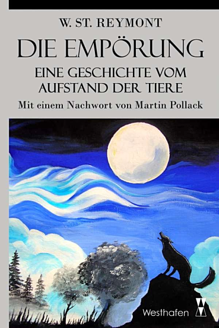 Cover of a German translation of 'Bunt' with an image of a wolf howling at the moon