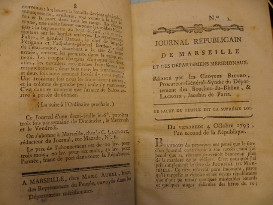 Opening of the second issue of the 'Journal de Marseille'