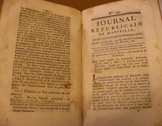 Opening of issue 44 of the 'Journal de Marseille'