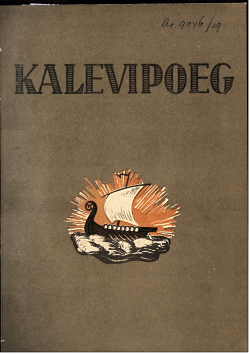 Cover of 'Kalevipoeg' with a vignette of a Viking ship