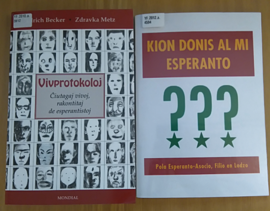 Covers of two books of interviews with Esperantists