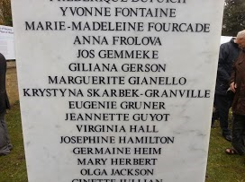 Female spies Some of the names on the Tempsford Memorial, courtesy of Clare Mulley
