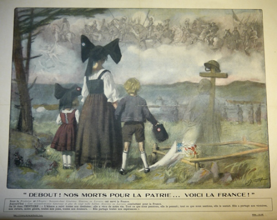 Poster of children in traditional Alsatian costume standing before a soldier's grave
