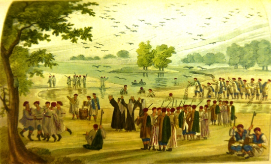 A festival in a river landscape with dancers, musicians and fishermen