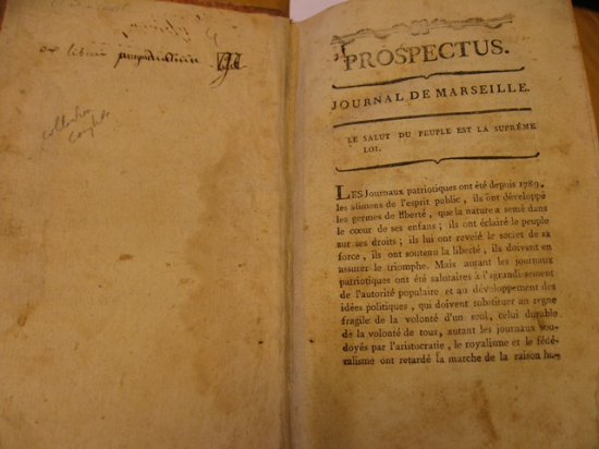Opening of the  prospectus for the 'Journal de Marseille'