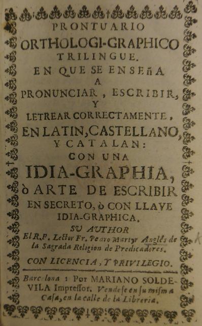 Title page of  'Prontuario orthologi-graphico trilingue.'