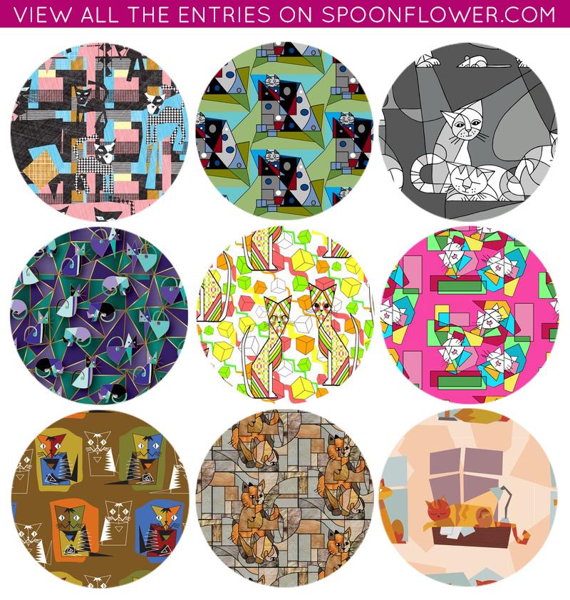 Cubist Cat Fabric