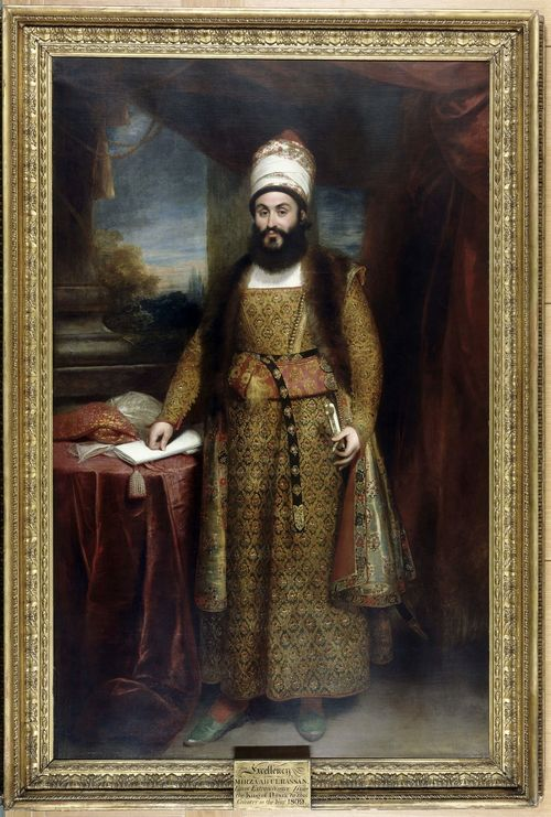 Portrait of Mirza Abu'l Hasan Khan, Envoy Extraordinary from the King of Persia to the Court of King George III, by William Beechey, 1809. British Library, F26.