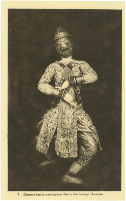 Dancer of the Royal Ballet in the costume of Hanuman.  Postcard from around 1915 issued by the Comité Cambodgien de la Société des Amis d'Angkor, from a collector's album of postcards from Laos, Cambodia, Burma and Siam.  British Library, ORB. 30/6309, p. [30]
