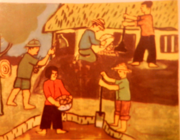 'Reinforcing the wall to protect our classrooms' by Phương Quốc Thanh, 14 years old. Việt Nam, no.141, 6,1969 p. 18. British Library, SU 216(2)