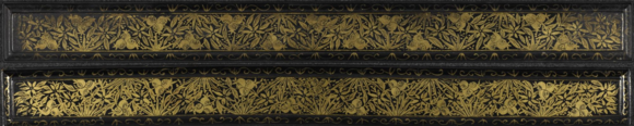 Covers belonging to a royal edition of the Paññāsa Jātaka, British Library, Or 12524. The wooden covers are decorated with black lacquer and gilt plant ornaments.