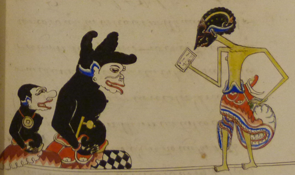 Prince Panji (on the right) hands a letter to his clown-retainers (panakawan) Bancak and Dhoyok, in a Javanese Panji romance, 19th century. British Library, Or. 15026, f.85r (det.)