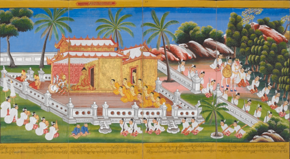 The Buddha at Savatti, in a Burmese manuscript. British Library, Or 14405, f. 55.