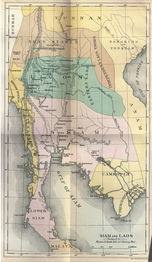 Map p.1 Siam and Laos as seen by our missionaries 1884