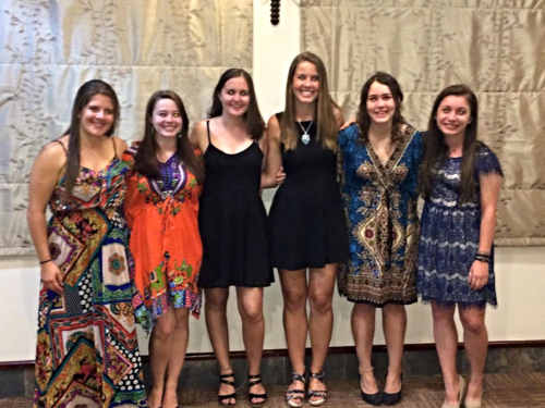 Dorm girls looking great at the farewell dinner