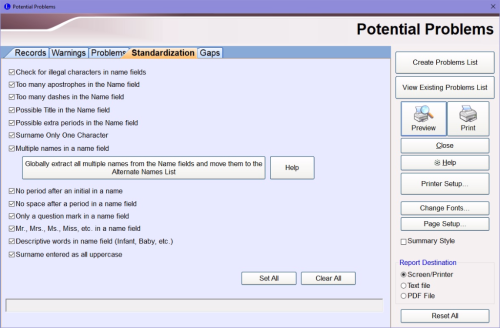 Standardization tab