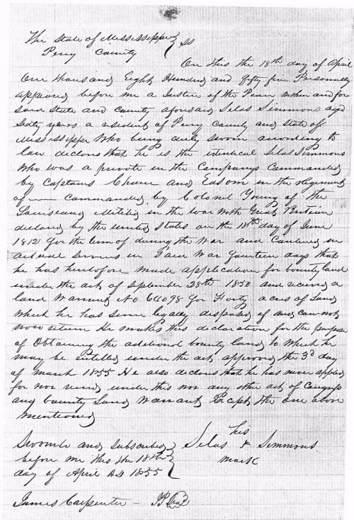 Silas Simmons affidavit 1855
